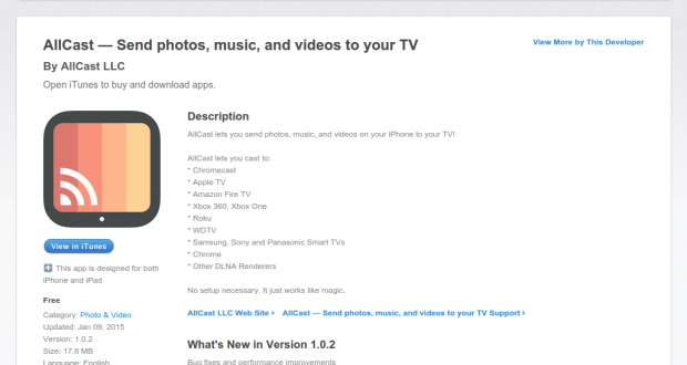 AllCast — Send photos  music  and videos to your TV on the App Store on iTunes
