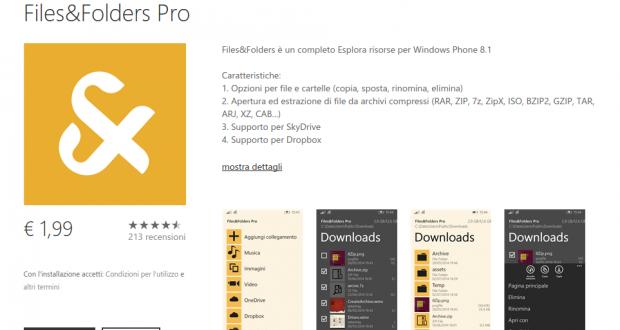 Files Folders Pro   Store di app e giochi per Windows Phone  Italia