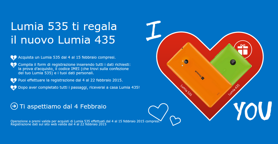 Promozione Lumia 535 ti regala il nuovo Lumia 435