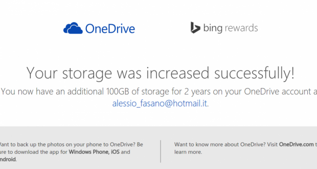 Bing Rewards and OneDrive Storage Offer