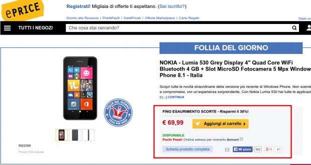 Follia del giorno Nokia lumia 530