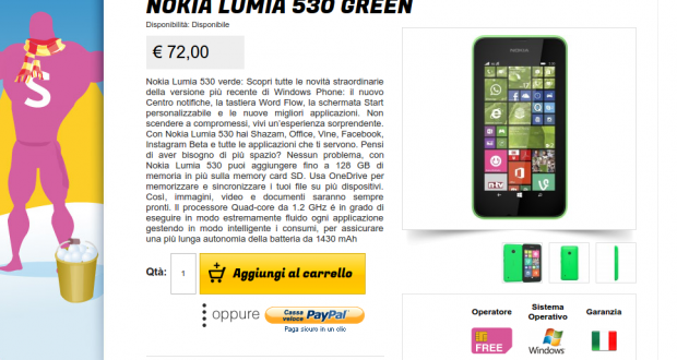 Nokia Lumia 530 Green   Gli Stockisti  Smartphone  cellulari  tablet  accessori telefonia  dual sim e tanto altro
