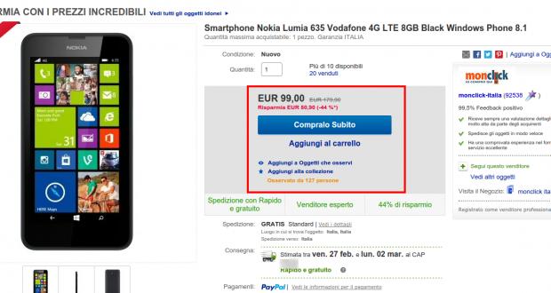 Smartphone Nokia Lumia 635 Vodafone 4G LTE 8GB Black Windows Phone 8.1   eBay