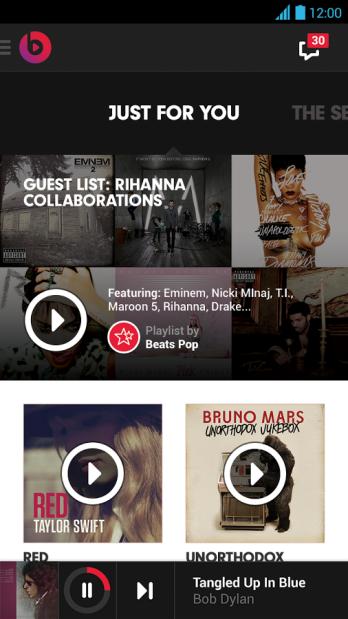 L'attuale app di Beats Music su Android