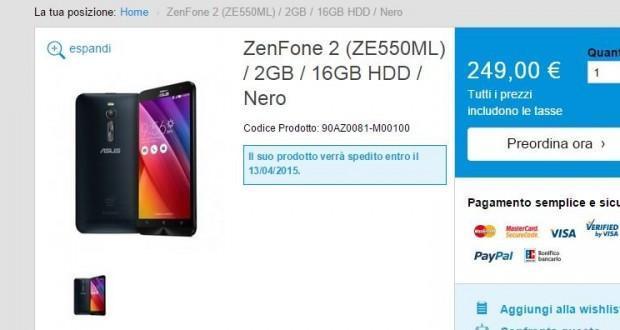 Asus ZenFone 2 preordine
