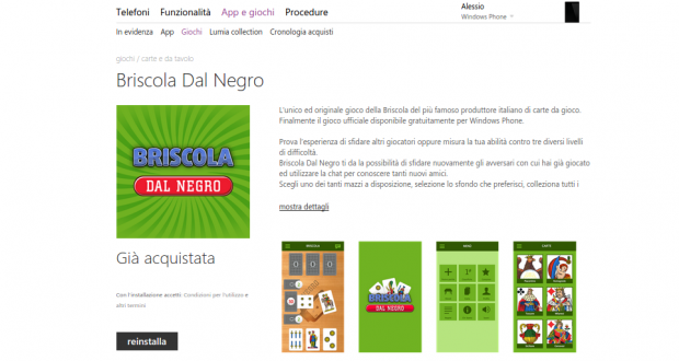 Briscola Dal Negro   Store di app e giochi per Windows Phone  Italia