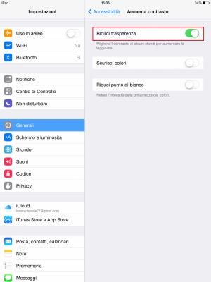 Come eliminare la trasparenza in iOS 8 (3)