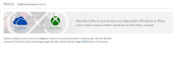 Onedrive e Xbox Musica