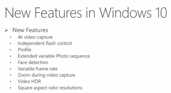 Windows 10 novità fotocamera