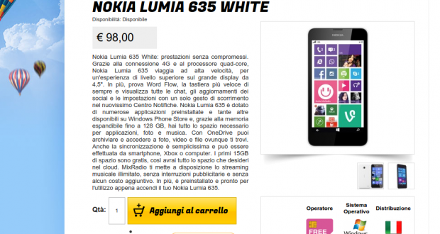 Nokia Lumia 635 White   Gli Stockisti  Smartphone  cellulari  tablet  accessori telefonia  dual sim e tanto altro