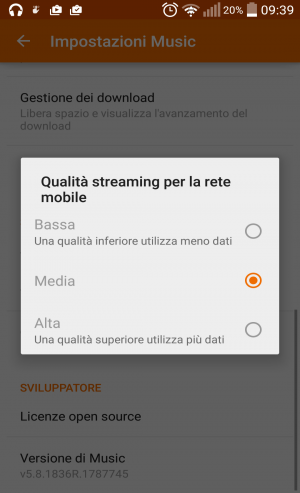 Come alzare la qualità dello streaming per la rete mobile su Google Play Musica per Android