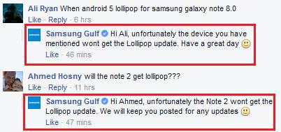Samsung Golfo no Lollipop Samsung Galaxy Note 8.0