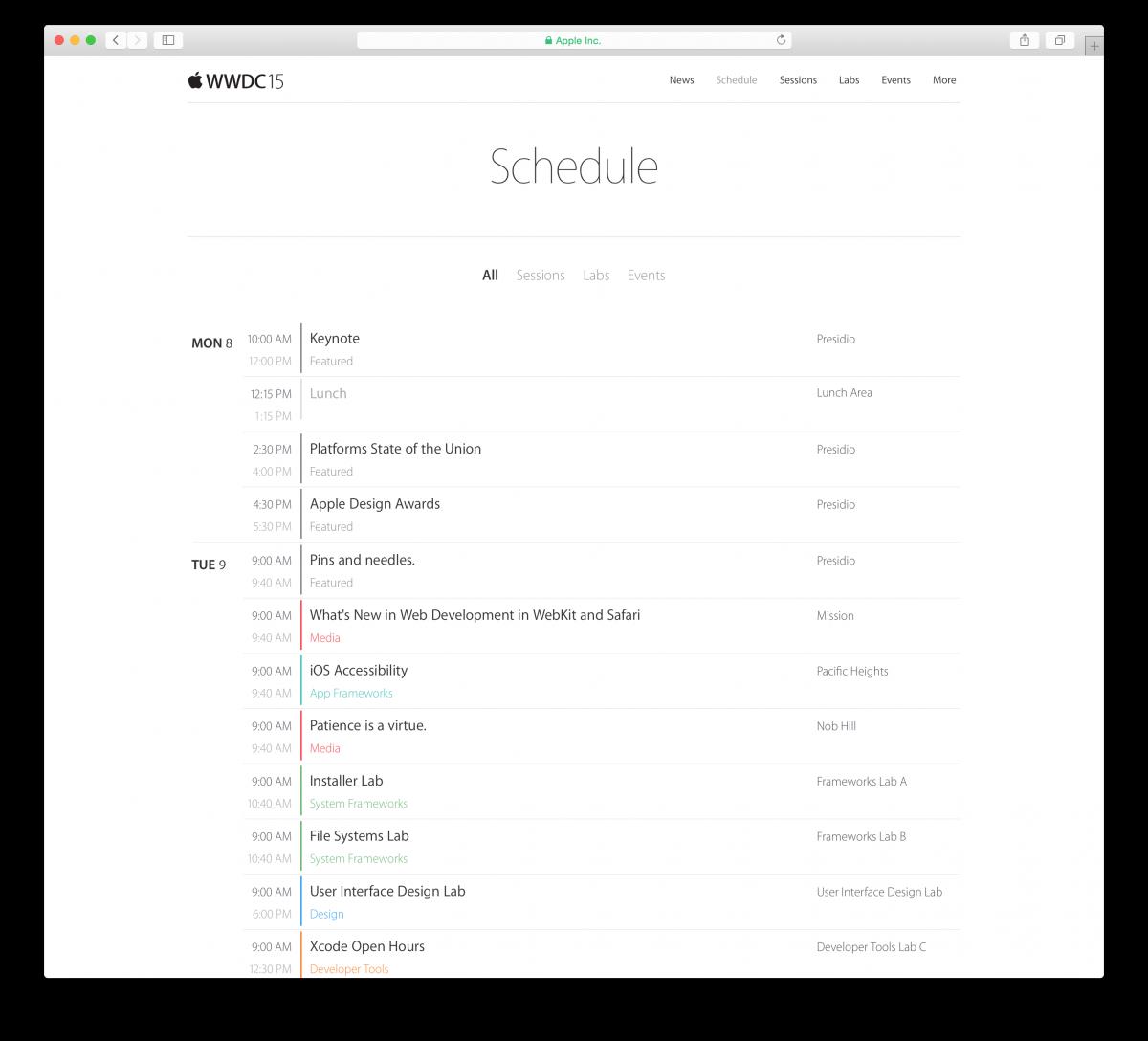 WWDC 2015 Programma