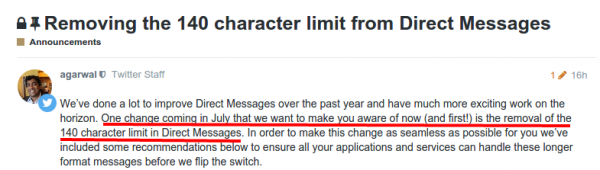 Removing the 140 character limit from Direct Messages   Announcements   Twitter Developers