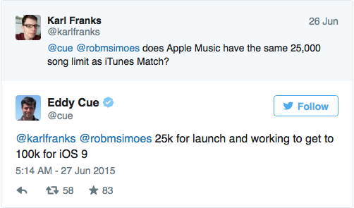 Apple Music Tweet