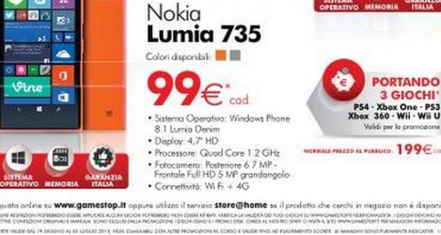 nokia lumia 735 99 euro gamestop