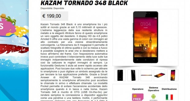 Kazam Tornado 348 Black   Gli Stockisti  Smartphone  cellulari  tablet  accessori telefonia  dual sim e tanto altro