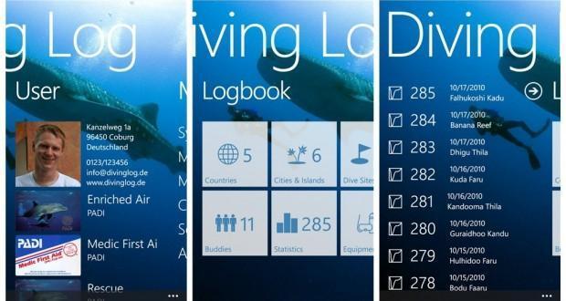 diving log windows phone
