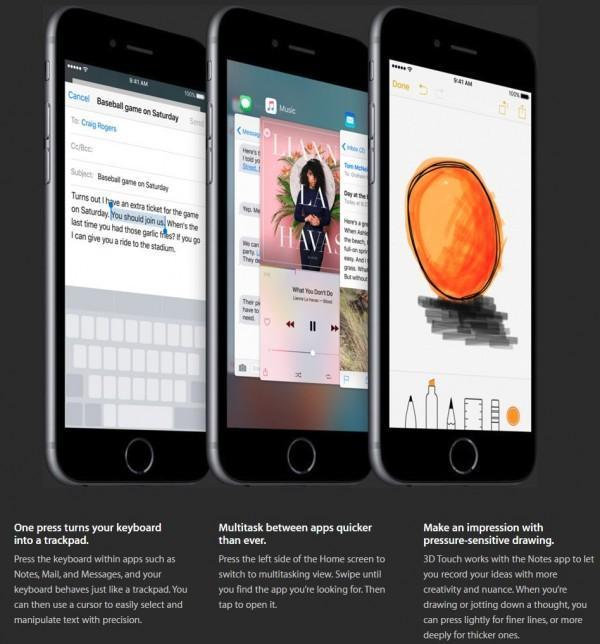 3D Touch iPhone 6s altre app