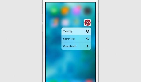 Pinterest per iOS 3D Touch