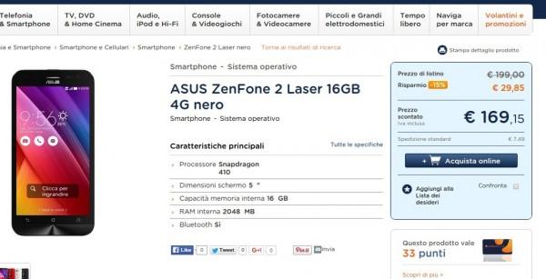 Smartphone ASUS ZenFone 2 Laser 16GB 4G nero in offerta su Unieuro