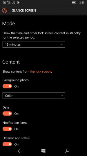 Glance Windows 10 Mobile
