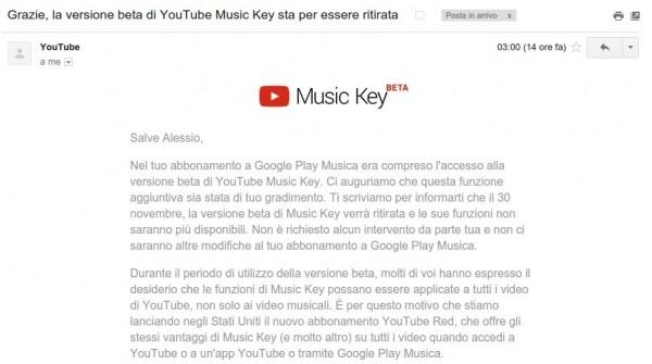 Grazie  la versione beta di YouTube Music Key
