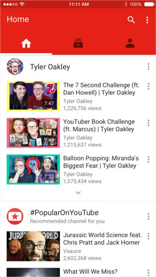 Youtube per iOS Material Design 1