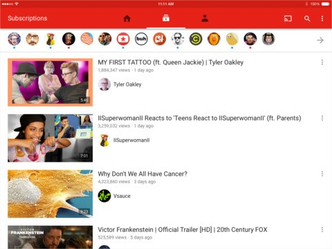 Youtube per iOS Material Design