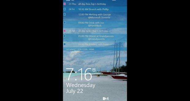 lock screen agenda