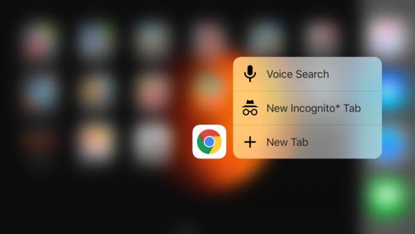 Google Chrome Beta iOS 3D Touch