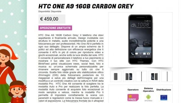 HTC One A9 16GB Carbon Grey   Gli Stockisti  Smartphone  cellulari  tablet  accessori telefonia  dual sim e tanto altro