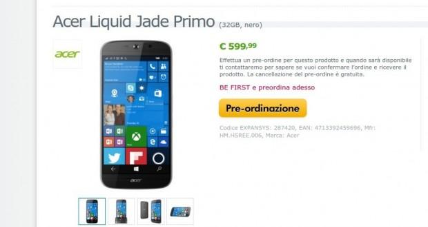 Acer Liquid Jade Primo  32GB  nero   HM.HSREE.006   EXPANSYS Italia