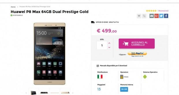 Huawei P8 Max 64GB Dual Prestige Gold   Gli Stockisti  Smartphone  cellulari  tablet  accessori telefonia  dual sim e tanto altro