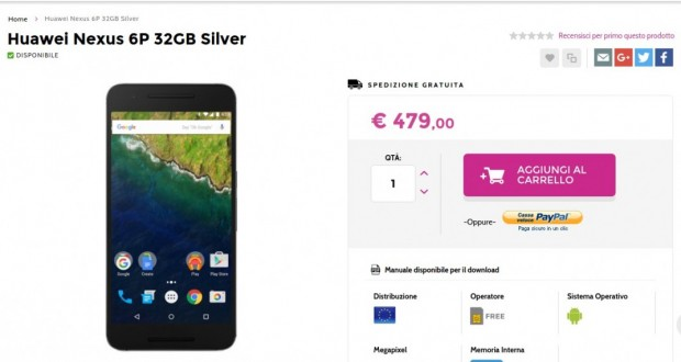 Huawei Nexus 6P 32GB Silver   Gli Stockisti  Smartphone  cellulari  tablet  accessori telefonia  dual sim e tanto altro