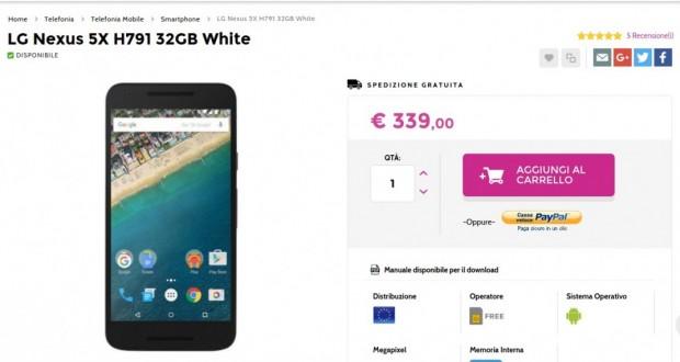 LG Nexus 5X H791 32GB White   Gli Stockisti  Smartphone  cellulari  tablet  accessori telefonia  dual sim e tanto altro