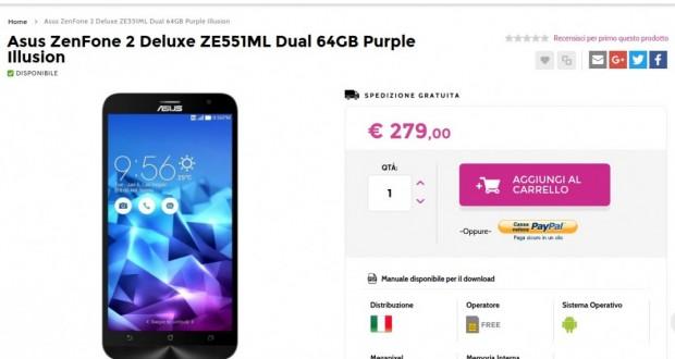 Asus ZenFone 2 Deluxe ZE551ML Dual 64GB Purple   Gli Stockisti  Smartphone  cellulari  tablet  accessori telefonia  dual sim e tanto altro