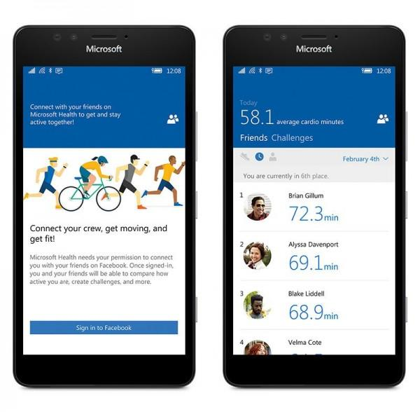Microsoft Health integrazione Facebook