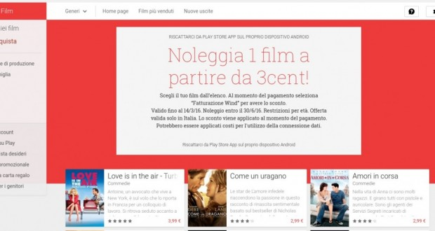 Noleggia 1 film a partire da 3cent    Film su Google Play