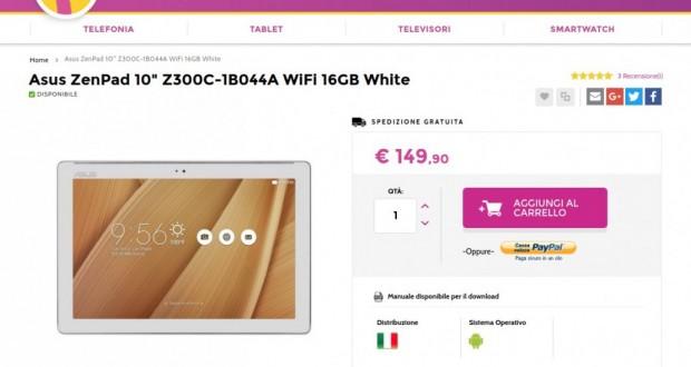 Asus ZenPad 10  Z300C WiFi 16GB White   Gli Stockisti  Smartphone  cellulari  tablet  accessori telefonia  dual sim e tanto altro
