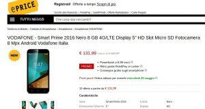 VODAFONE   Smart Prime 2016 Nero 8 GB 4G LTE Display 5  HD Slot Micro SD Fotocamera 8 Mpx Android Vodafone Italia   ePrice