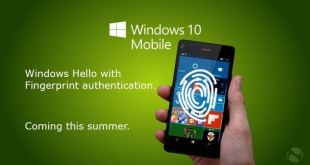 Windows 10 Mobile sensore di impronte