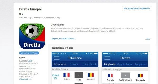 Diretta Europei sull App Store