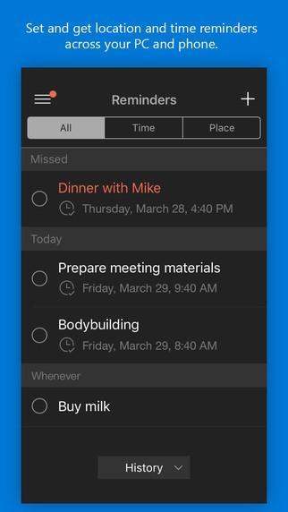 Cortana per iOS 1.90 promemoria