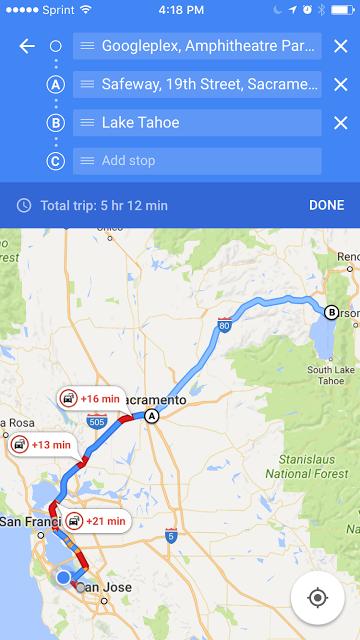 Google maps multi fermata