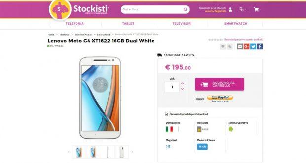 Lenovo Moto G4 XT1622 16GB Dual White   Gli Stockisti  Smartphone  cellulari  tablet  accessori telefonia  dual sim e tanto altro