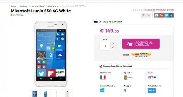 Microsoft Lumia 650 4G White   Gli Stockisti  Smartphone  cellulari  tablet  accessori telefonia  dual sim e tanto altro