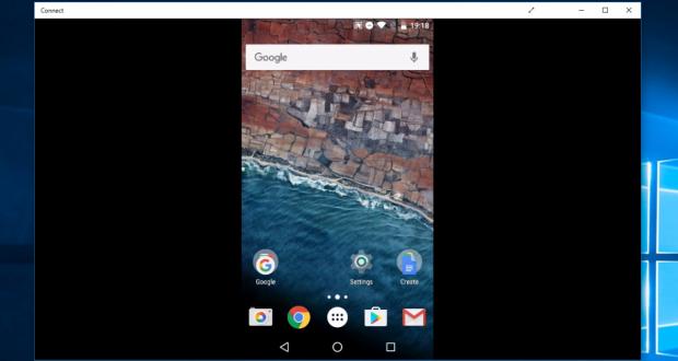 Mirroring Android verso Windows 10 Anniversary Update