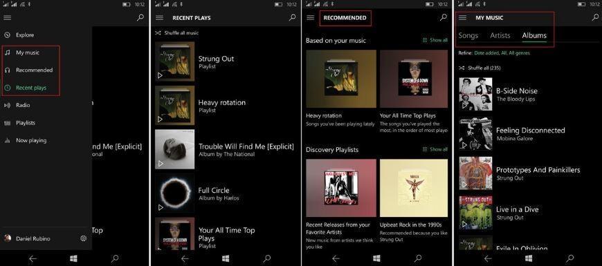 Groove Musica novità UI Windows 10 Mobile