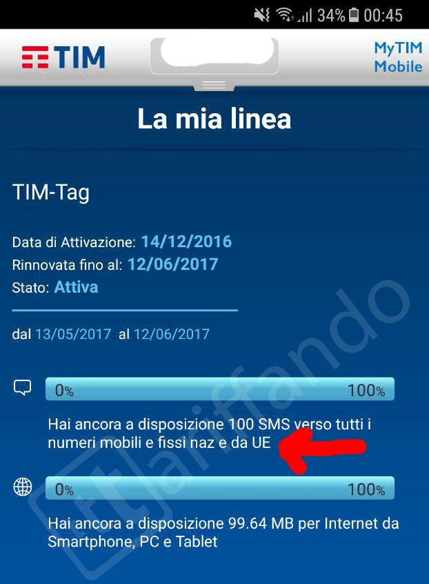 TIM roaming gratuito